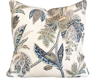 Kravet Indigo Blue Floral Decorative Pillow Cover - Throw Pillow - Accent Pillow - Both Sides or Cream Linen Back - ALL SIZES AVAILABLE