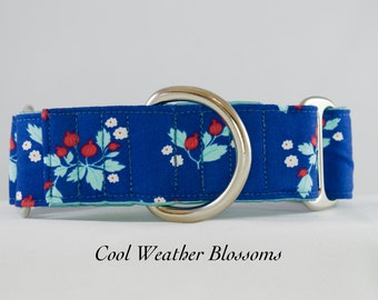 Cool Weather Blossoms: Adjustable Martingale or Buckle Dog Collar for Winter, Christmas, Fall, in blues