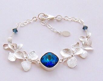 Silver Orchid Bracelet/Blue Bridal Bracelet/Blue Orchid Bridesmaid Bracelet/Blue Wedding Jewellery/Blue Prom Bridal Jewelry/Gift for Her