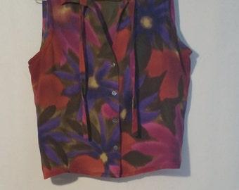80's Jones New York women's Silk Top Blouse Sleeveless,Floral Top Blouse, Size 8P