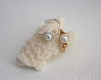 Children's White Pearl Wire Wrapped Ring
