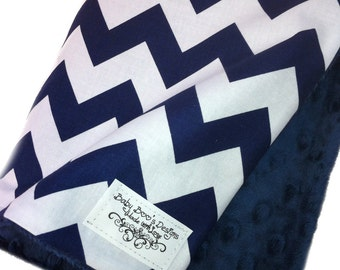 Navy and White Chevron Cotton Blanket with Navy Dimple Dot Minky - Baby Blanket