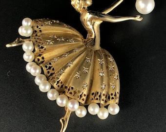 14K Yellow Gold Diamond White Pearl Figural Ballerina Mid-Century Brooch Pin