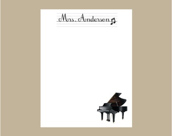Piano Notepad, Music Teacher notepad, Personalized Notepad, Teacher gift, stocking stuffer
