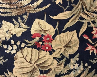 Rust Flowers and Green Leaves on Navy Blue Background, Fern Hill by Jan Patek Quilts for Moda Fabrics, 100% Cotton