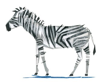 Zeb Zebra - Zebra Art Print, Zebra Decor, Animal Art