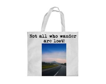 Travel tote bag, Not all who wander are lost tote bag, tote bag, canvas tote bag,  grocery bag