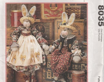 "Bunny Pattern 34"" Tall Dressed Bunnies Boy Girl Decorator Rabbit Uncut McCalls 8035 Hop to it"