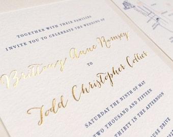 Gold Foil Calligraphy Wedding Invitation Navy Blush Elegant Nautical Laurel Wreath High End Luxurious Cotton Paper Wedding Invitations