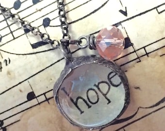Soldered Glass Necklace, HOPE Necklace, Soldered Glass Bubble Charm Necklace, Gift of Encouragement, Inspirational Jewelry, Kyleemae Designs