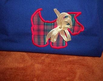 plaid scotty on navy blue cotton purse