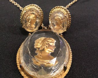 Vintage Facet Clear Glass Cameo Pendant Necklace And Earring Set Intaglio Women Profile Gold Tone Setting