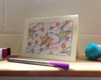 Stars Greetings Card, Birthday Card, Blank Card, Note Card