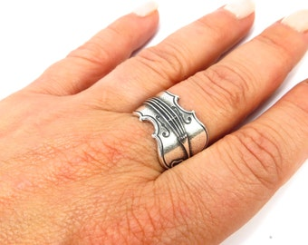 Violin Ring Sterling Silver Ox or Brass Finish Large Violin Ring