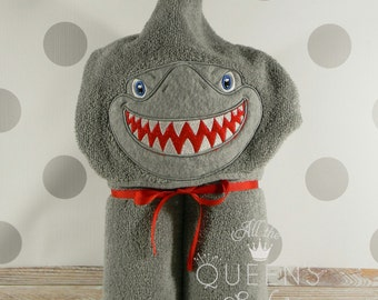 Teen or Adult Hooded Towel - Shark Hooded Towel with Applique Embroidery - Shark Towel for Bath, Beach, or Swimming Pool