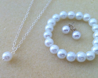 Flowergirl Necklace, Pearl Bracelet and Pearl Stud Jewelry Gift - Weddings, flower girl