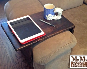 Couch Tray ~ Handmade Custom fit Wood Sofa Arm Rest Table TV Tray