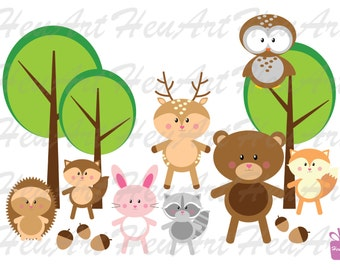 NEW Woodland Animals Clipart, Cute Woodland Animal,Woodland Clipart,Woodland Digital,Cute Animal Printables,Woodland Animal,Animal Stickers