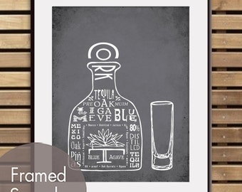 Tequila with Shot Glass - Art Print (Featured in Charcoal) (Top Shelf Alcohol Series) Buy 3 Get One Free