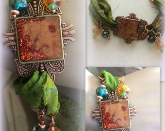 Hot Copper and Sari Silk Bracelet