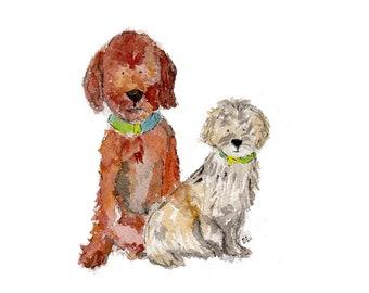 Custom Pet Portrait - 2 pets watercolor 5 X 7 or 8 X 10