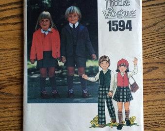 Childs Vogue Pattern / Childrens Jacket Pattern / Girls Skirt Pattern / Childrens Pants Pattern / Little Vogue 1594  / UNCUT