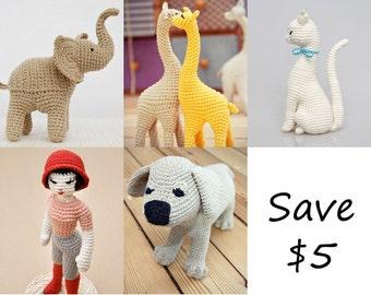 Amigurumi Patterns of Elephant Giraffe Cat Doll And Puppy, crochet bundle, discount, gifts for kids, diy baby shower, birthday present