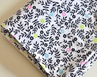 Vintage Fabric Cotton Print Black & Multicolor Floral Stems and Leaves on White by the Yard