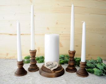 Family Unity Candle Holder Set Rustic Wood Unity Candle Set Wedding Family Unity Candle Family Unity Set Family Ceremony Parent Child Unity