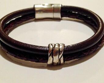 Dark brown braided cork and leather bracelet