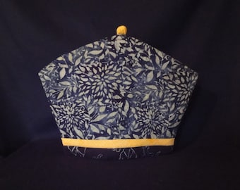 Blue Grey Floral with Yellow Batik Tea Cozy, Coffee Cozy & French Press Cozy Quilt