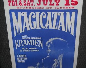 Vintage Magician Window Advertising Sign~Magicazam~Rock Springs~Miss Magic World