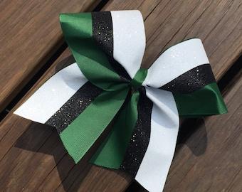 Glitter striped, 3 Color Cheer Bow