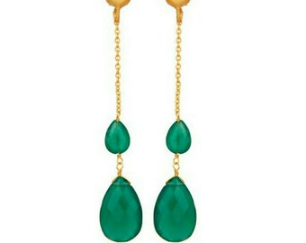 22K gold vermeil dangle and drop thread stud chain earrings, with  teardrop green onyx, 925 sterling silver