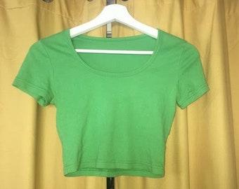 classic green american apparel crop top small 90s