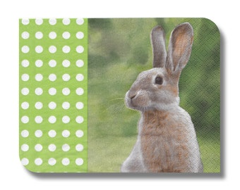 Rabbit paper napkin for decoupage, mixed media, collage, scrapbooking x 1.  Easter Bunny. No 1202