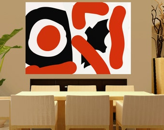 Extra Large Abstract Painting On Canvas orange Black and White Paintings Colorful Bold Huge Painting Lobby Art  Zen Modern Wall art  L8