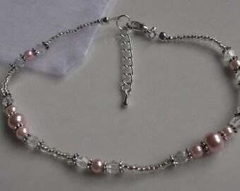 Pink pearl anklet, ankle bracelet, stretch anklet, beaded anklet, bridal anklet, silver anklet, bridal jewellery, beach anklet, prom anklet