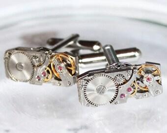GIRARD PERREGAUX Steampunk Cufflinks - Very RARE Luxury Swiss Vintage Watch Movement Silver Men Steampunk Cufflinks Cuff Link Wedding Gift