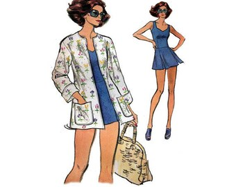 Cute Vintage Bathing Suit, Shorts and Jacket Pattern---Vogue 8884---Size 16  Bust 38