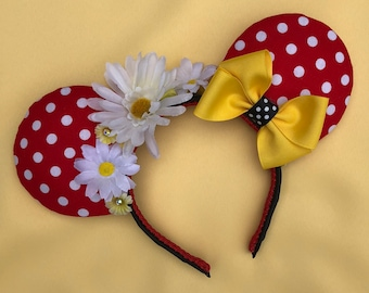 Minnie Mouse Rock the Dots Floral Ears / Disney inspired Mouse Ears