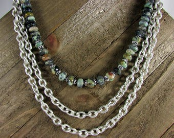 Chrysocolla & Matte Silver Multi-Strand Chain Necklace, Gemstone and Chain Necklace