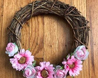 Pink Flower Mini Wreath - 20 cm