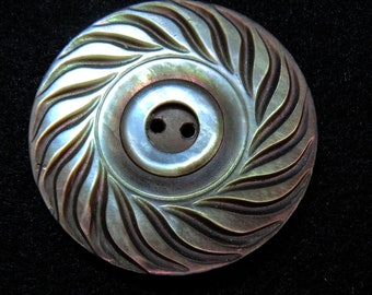 Carved Mother of Pearl Button, Iridescent Rainbow Tone Sew Through Button
