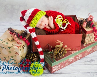 Christmas Holiday Cocoon & Striped Elf Hat Handmade Crocheted Ready to Ship Made in the USA