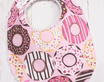 Donut Baby Bib for Baby Girl  - Donuts Baby Bib in pink, sprinkles  - Single Bib - Triple Layer Chenille  - PINK DONUTS