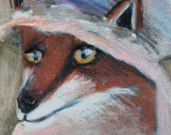 original art  aceo drawing fox in bonnet hat anthropomorphic victorian animal in clothes