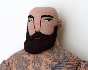 Tattooed Man Bald with beard Circus Doll toile plush
