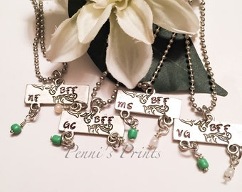 Hand stamped BFF necklace, personalized friendship necklaces, best friend, custom jewelry