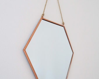 Medium size hexagonal copper mirror